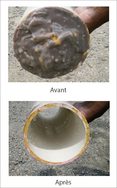 débouchage égout avant et après