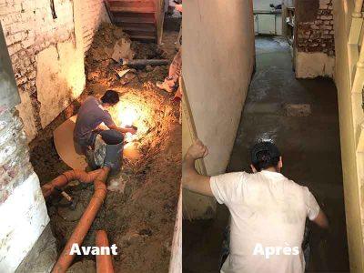 travaux de plomberie avant/après